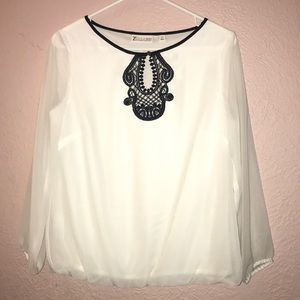 New York and company white blouse with lace detail